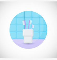 Toothbrushes in glass flat icon vector