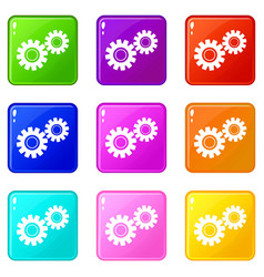 Two gears icons 9 set vector