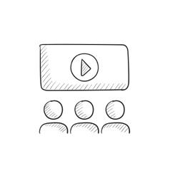 Viewers watching motion picture sketch icon vector image vector image