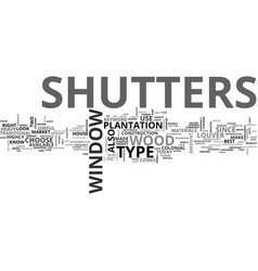 Window shutters text word cloud concept vector