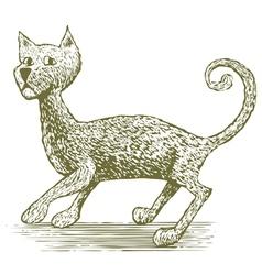 Woodcut cat drawing vector