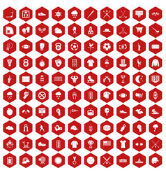 100 baseball icons hexagon red vector