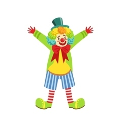 Colorful friendly clown with multicolor wig in vector