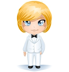 Groom dressed in white suite vector