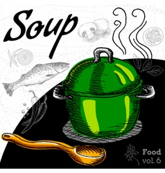Hot soup in a green pot with wooden spoon vector