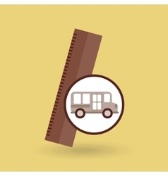school bus ruler icon graphic vector image