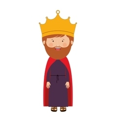 Colorful king with crown and beard vector