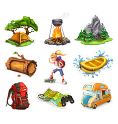 Camp and adventure 3d icons set vector