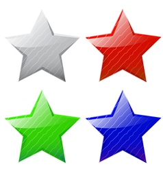 set of glossy five-pointed stars vector image