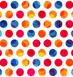 Colored circle seamless pattern with grunge effect vector
