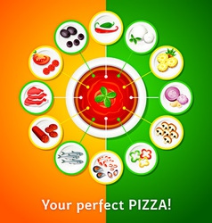 Pizza toppings vector image