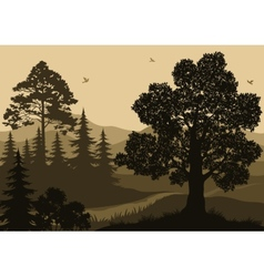 Landscape trees birds and mountains vector