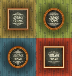 Set of old wallpaper with vintage frame vector image
