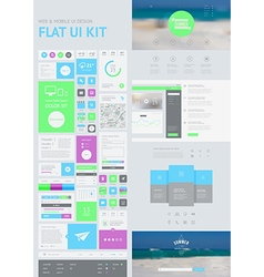 Flat ui kit for web and mobile vector