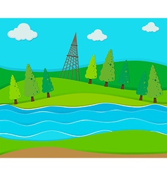 Green field by the river vector