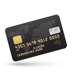 Realistic black credit card isolated on white vector