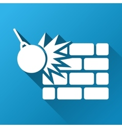 Wall destruction gradient square icon vector