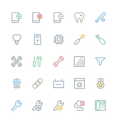 User interface colored line icons 51 vector