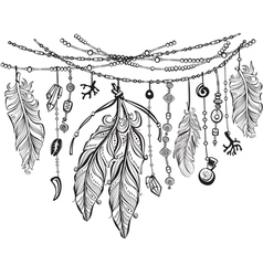 Background with feathers in Boho style vector image