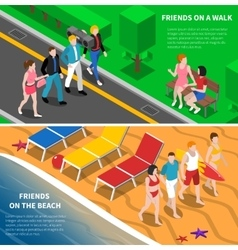 Friends outdoor 2 isometric banners composition vector