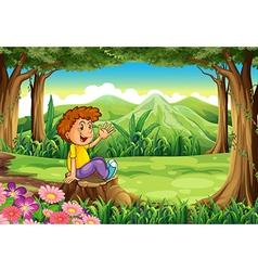 A stump with a happy boy vector image vector image