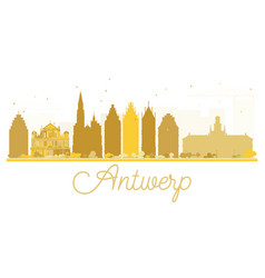 Antwerp city skyline golden silhouette vector