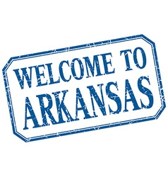 Arkansas - welcome blue vintage isolated label vector