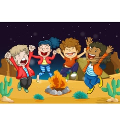 boys near fire vector image vector image