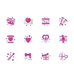 Bright pink love icons set vector image