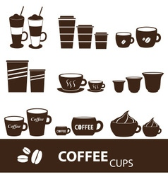 Coffee cups and mugs sizes variations icons set vector
