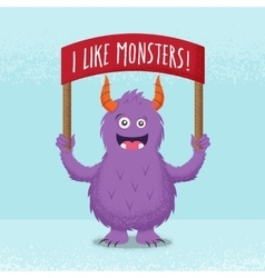 Cute little monster standing with a red banner vector