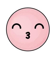 Cute pink kawaii emoticon face vector