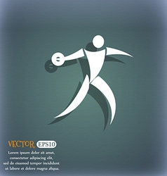 Discus thrower icon on the blue-green abstract vector