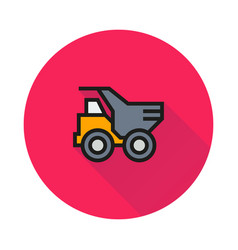 dump truck icon on round background vector image