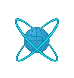 Earth around orbits icon cartoon style vector image vector image