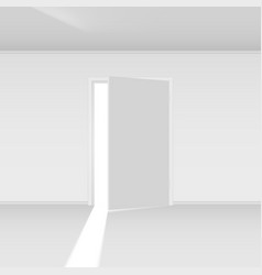 Exit door with light on empty background vector