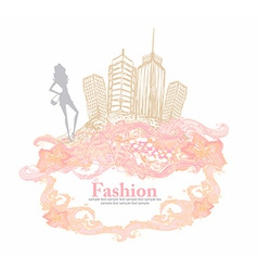 Fashion shopping girl in the city vector image