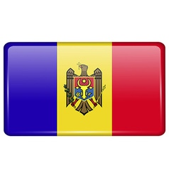 Flags Moldova in the form of a magnet on vector image vector image