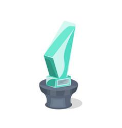 glassy award trophy isolated symbol vector image