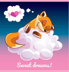 greeting card with a cartoon fox on the cloud vector image