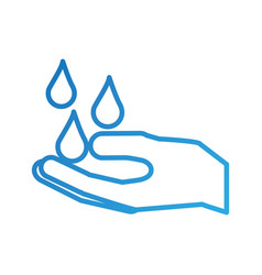 hand with water drop clean hygiene symbol vector image