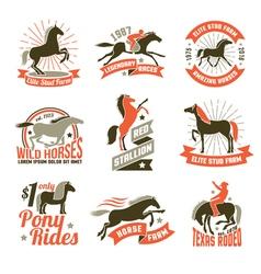 Horse breeding labels emblems set vector