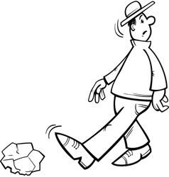 Inattentive man coloring page vector