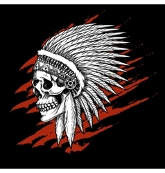 Indian tribal skull with feathers emblem vector