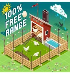 Isometric henhouse free range farming vector