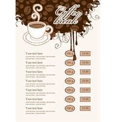 list with cup of coffee vector image vector image