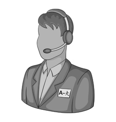 Male translator on phone icon vector