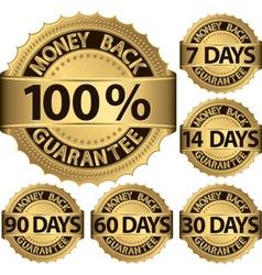 Money back guarantee golden label set vector image vector image