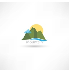 mountains symbol with sun and cloud vector image vector image