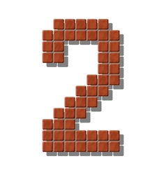Number 2 made from realistic stone tiles vector